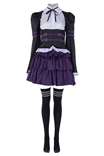 Erza Scarlet Cosplay Costume Halloween Robe de Femme de Chambre des Manche Longue Jupe de Maid Ensemble Complet, XL