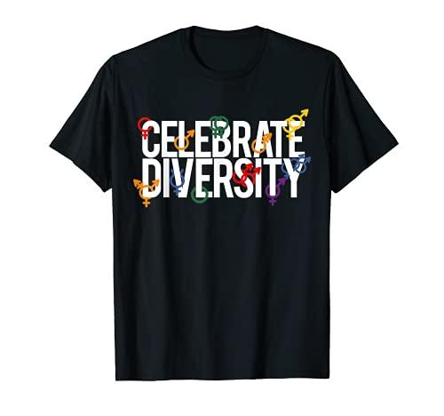 Símbolos de género Regalos Celebrar la Diversidad No Orgullo Binario Camiseta