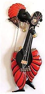 Tejas Enterprises Lord Ganesh Playing Sitar | Wraught Iron Wall Hanging | Wall Mounted Hanging Metal Art Decor Colorful De...