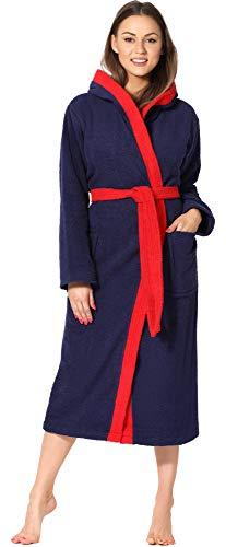 Ladeheid Albornoz de Baño 100% Algodón Ropa de Casa Mujer LA40-191 (Azul Oscuro-29/Rojo-26, XXL)