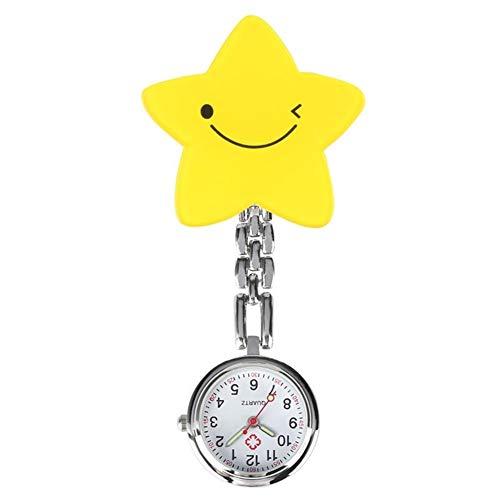 Reloj de broche duradero Amarillo elegante Pentágono cara de la sonrisa del reloj de plástico de cuarzo relojes de bolsillo de las manos luminosas reloj pendiente de la enfermera Clip Enfermero Doctor