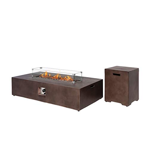 %21 OFF! HOMPUS Propane 56-inch x 28-inch Rectangle Bronze Concrete Fire Table with Tank Cover, Wind...