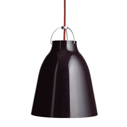 Lightyears Shapes - Pendelleuchte - Caravaggio P2 - Hochglanz schwarz mit rotem Kabel -Ø 257mm - E27