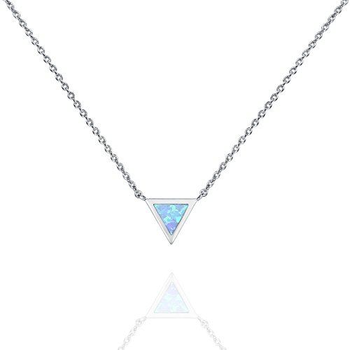 PAVOI 14K White Gold Plated Triangle Created Blue Opal Necklace | Opal Necklaces for Women