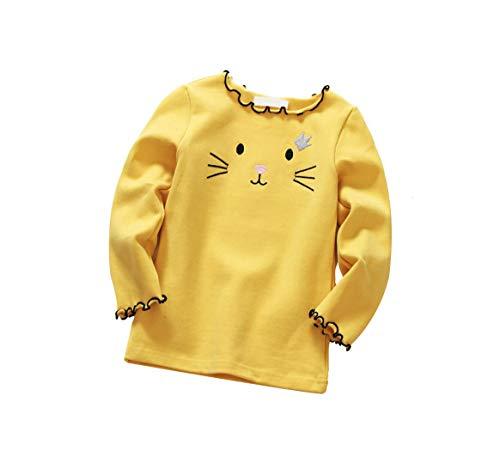 DEBAIJIA Enfant Fille T-Shirt en Coton à Manches Longues Broderie Mignonne, sous-Pull Peluche en...