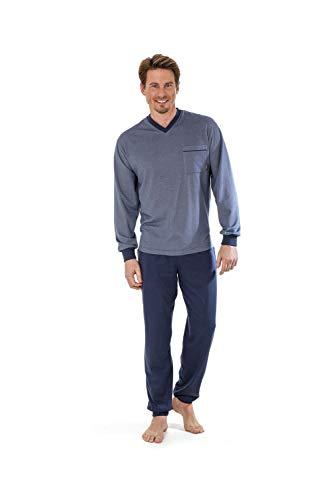 hajo Langer Pyjama \'Klima-Light\' in Denim Übergröße 5XL, Größe:3XL