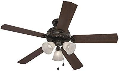 Harbor Breeze Barnstaple Bay 52-in Bronze Downrod Mount Indoor Residential Ceiling Fan with Light Kit