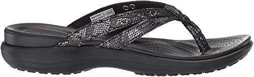 Crocs Capri Strappy Flip W, Zapatos de Playa y Piscina para Mujer, Negro (Black/Black 060b), 42/43 EU