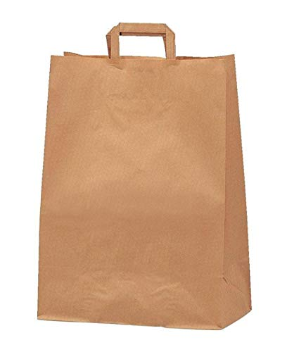 Yearol K06 25 Bolsas papel kraft marrón estraza con asa. 30*22*10 Especial para regalos, Navidad, eventos, cumpleaños, bodas, comercio, compra, venta, manualidades, embalaje, transporte. Base plana