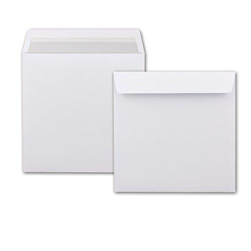 Enveloppen vierkant wit 220 mm met binnendruk 150 Stück Wit met grijze binnendruk