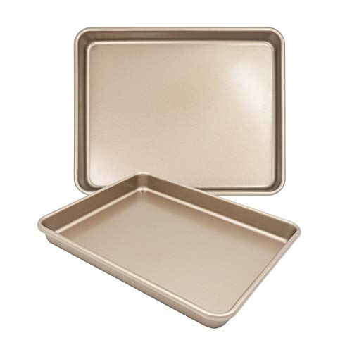 Shinsin Baking Sheet Pans for Oven, Nonstick Bakeware Toaster Oven Baking Pan Set, 13x11 Heavy Gauge Steel Toaster Oven Trays Replacement Cookie Sheet Set