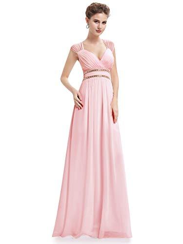 Ever-Pretty Damen Abendkleid A-Linie Festliches Kleid V Ausschnitt Brautjungfer rückenfrei lang Rosa 38