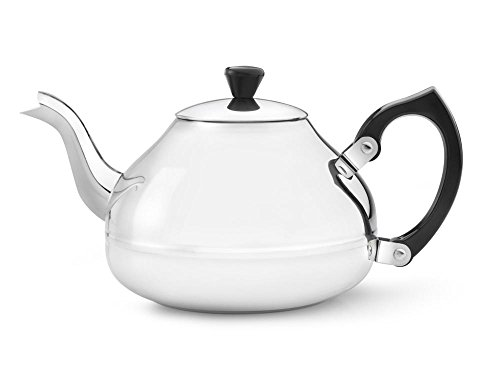 bredemeijer Ceylon Single Walled Teapot, 1.25-Liter, Stainless Steel Glossy Finish with Black Accents