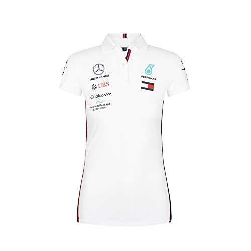MAMGP 2019 Mercedes-AMG F1 Formula One - Polo para Mujer y niña, Producto Oficial, Color Blanco, tamaño Ladies (XS) UK 8 / Chest 82cm