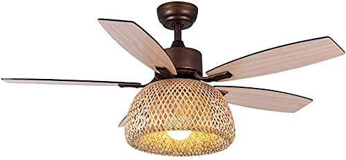 Lámpara de ventilador de techo, control remoto silencioso, para dormitorio, preparación de bambú, diseño de hoja de abanico de madera retro americano/iluminación interior (color: B)