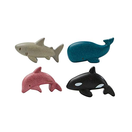PlanToys Wooden 4 Animal Sea Life Ocean Animal Playset (6129)   Sustainably Made from Rubberwood and Non-Toxic Paints and Dyes   Eco-Friendly PlanWood