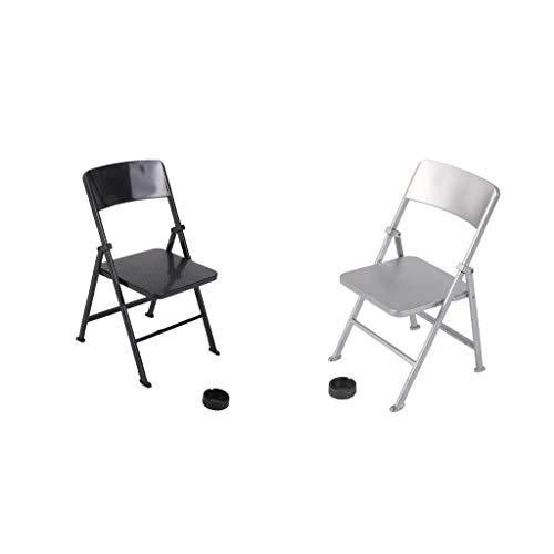 U/K Pulabo, 2 mini sedie pieghevoli con posacenere mobili per Action Figure casa delle bambole da 12 pollici di alta qualità pratica