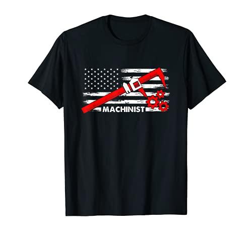 Maschinist Amerika Flagge CNC Dreher Fräser Mess Werkzeug T-Shirt
