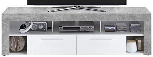 FMD furniture Lowboard, Spanplatte, Beton LA/Weiß, ca. 180 x 53 x 40 cm
