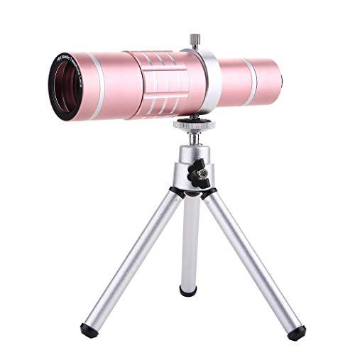 LYMUP Telescopio móvil monocular, Telescopio Móvil Universal 18x, Telescopio Monocular de Zoom, observación de Aves Conciertos de Senderismo, Rosa
