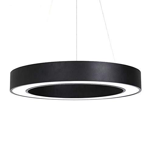 RUXMY LED Kronleuchter, Modern Minimalist Black Hollow Ring Acryl-Pendant Licht für Conference Room Dining Room Schlafzimmer Wohnzimmer-Dekoration Ceiling Lampe