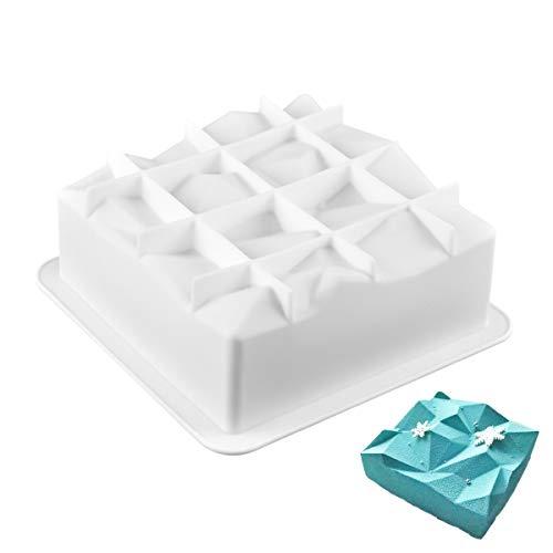 Joyeee Antiadhésif Moul à gâteau, Moule en Silicone a Forme de Carrée pour muffins, Cheesecake, gâteaux, Chocolat, Pudding - Moule à pâtisserie pour Fête D'anniversaire, Fête d'adieu