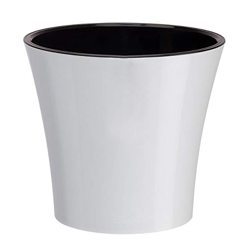 Santino, Self Watering Planter Arte 6.5 Inch White/Black, Indoor Flower Pot for All House Plants, Flowers, Herbs, Succulents