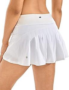 CRZ YOGA Mujer Deportivo Corto Falda Plisada Skorts de Tenis Golf con Interior Shorts Blanco 46