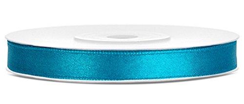 Partydeko 25m x 6mm Rolle Satinband Geschenkband Schleifenband Dekoband Satin Band Antennenband (Türkis (083))