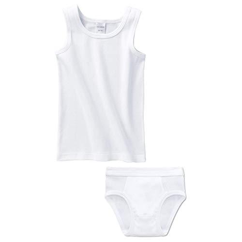 Schiesser Jungen Unterwäsche Set - 2-teilig (1x Unterhemd und 1x Unterhose) (Weiß (100), 104)