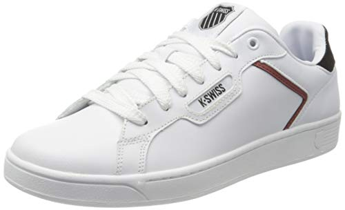 K-Swiss Herren CLEAN Court II CMF Sneaker, White/Black/Cowhide, 43 EU