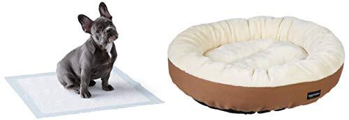 Amazon Basics – Cama Redonda para Mascotas + - Toallitas de Entrenamiento para Mascotas (tamaño Regular, 50 Unidades)