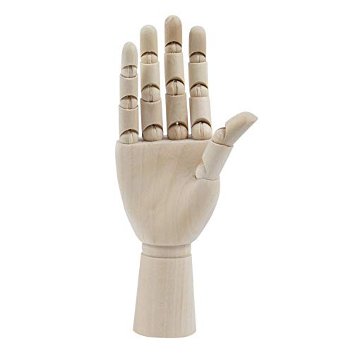 AUEAR, 7 Inch Wooden Mannequin Right Hand Hand Figure Drawing Model Wooden Hand Sculpture Artists Hand Model for Arts Drawing Sketching Painting Jewelry Display
