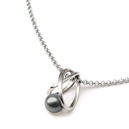 Heideman Halskette Damen Facilis aus Edelstahl Silber farbend poliert Kette für Frauen mit Swarovski Weiss Perlenkette mit Anhänger Brautschmuck Black Gr. ha23671-3-16-45