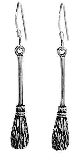 WINDALF Halloween Ohrhänger BROOMY 4.5 cm Hexen-Flugbesen Vintage Hexenschmuck 925 Sterlingsilber