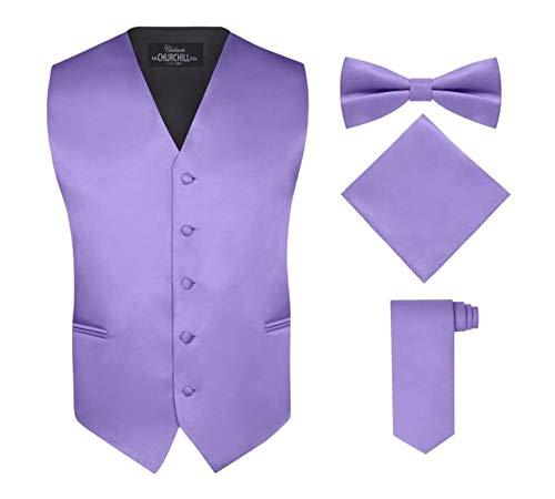 Men's 4 Piece Vest Set, with Bow Tie, Neck Tie & Pocket Hankie - Purple, M