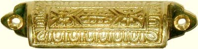 Victorian Brass Small Bin Drawer Pull Handle | Centers: 2-3/4' | Antique Cabinet, Vintage Cupboard, Old Desk Reproduction Hardware | B-1353