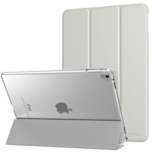 MoKo Case Fit iPad Pro 9.7 - Slim Lightweight Smart Shell Stand Cover with Translucent Frosted Back Protector Fit iPad Pro 9.7 Inch 2016 Release Tablet, Silver (with Auto Wake/Sleep)