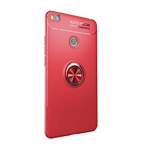 Funda Xiaomi Mi MAX 2 Carcasa Delgada Silicona Suave Negro TPU Case Anti-Arañazos, con Anillo Grip Kickstand y Soporte la función de Montaje Teléfono Case para Mi MAX 2 (Mi MAX 2, Rojo)