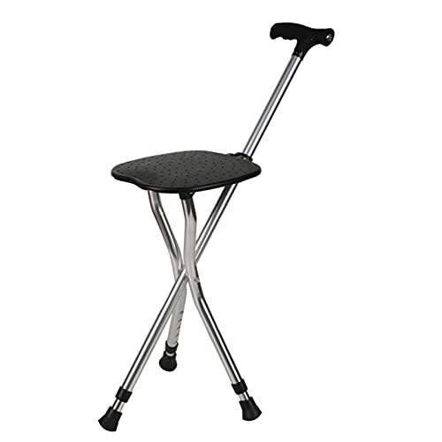 DTDMY Trípode de Aluminio Caminando con Asiento de Silla, Luces led Ajustables para Caminar bastón, Bastones Plegables para Hombres/Mujeres, Asas cómodas y Bastones de Base Antideslizante