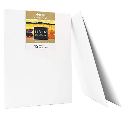 Artecho Panel de lona de 11 x 14 pulgadas, blanco en blanco, paquete de 12 unidades, lienzo de pintura artística, imprimado 100% algodón