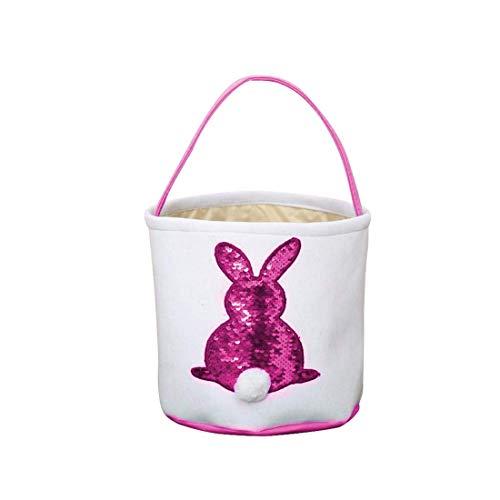 Neusky Ostern Tragetasche Baumwolltasche Osterkorb, osterhasenkorb, Ostern Geschenktasche (Pink-Paillette, 1)