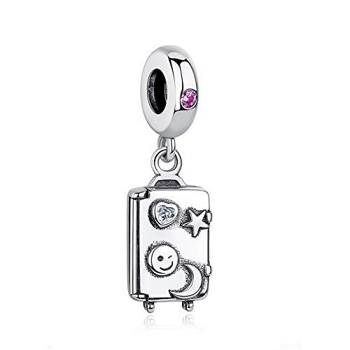 LISHOU DIY 925 Maleta De Plata De Ley Colgante con Cuentas Cuentas De Encanto Joyería De Moda para Mujer Adecuada para Pandora Pulsera Brazalete Regalo