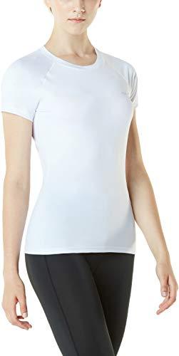 TSLA Women's Workout Shirts, Dry Fit Wicking Short Sleeve Shirts, Active Sports Running Exercise Gym Tee Shirt, Workout(fub03) - White, Medium
