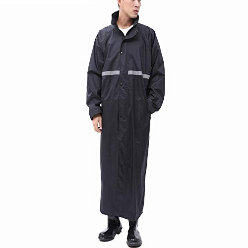 Raincoat Jacket Adult Hiking Men and Women Fashion Waterproof Riding Poncho Lengthened Thick Waterproof Body, XL,Navy blue