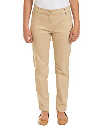 Chaps Womens Uniform Stretch Cotton Sateen Pant, Khaki, 7