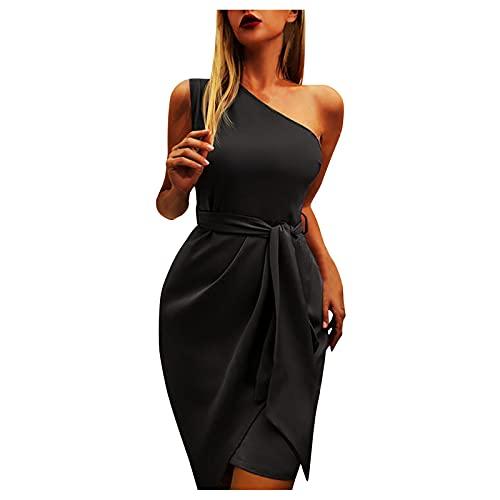 Mini Robe Ete Femme Chic Sexy Moulante sans Manches à épaules Dénudées, Slim Robe de Soirée Asymétrique élégante à épaule Inclinée pour Femmes, 2021 Mode Tunique Jupe Crayon Courte de Couleur Unie