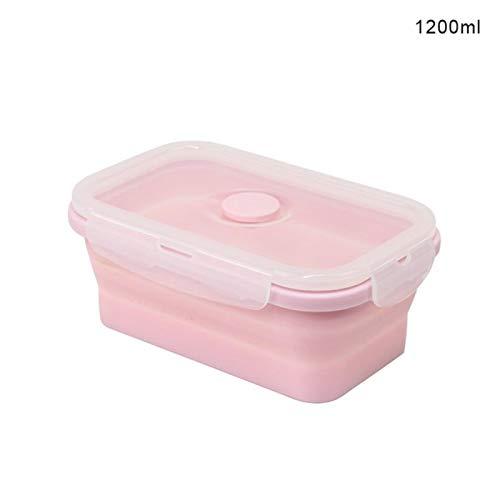 HUAYING Fiambrera plegable de silicona con aislamiento de grado alimenticio Bento para calentar microondas (350, 550, 850, 1200 ml)