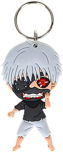 XUFAN Cosplay Porte-CléS Tokyo Ghoul Figures Porte-CléS Pendentif Cercles en MéTal Anti-Usure Acrylique Double Face Mignon Jeu Personnage Pendentif Accessoires