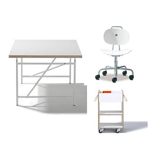 KOMPLETT-SET - Kinderschreibtisch Eiermann 150x75 cm weiß + Stuhl Turtle weiß + Container + Schale - Richard Lampert Möbel